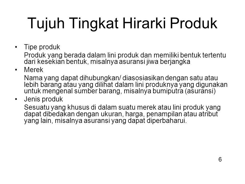 Tujuh Tingkat Hirarki Produk Tipe produk Produk yang berada dalam lini produk dan memiliki bentuk tertentu dari kesekian bentuk, misalnya asuransi jiw