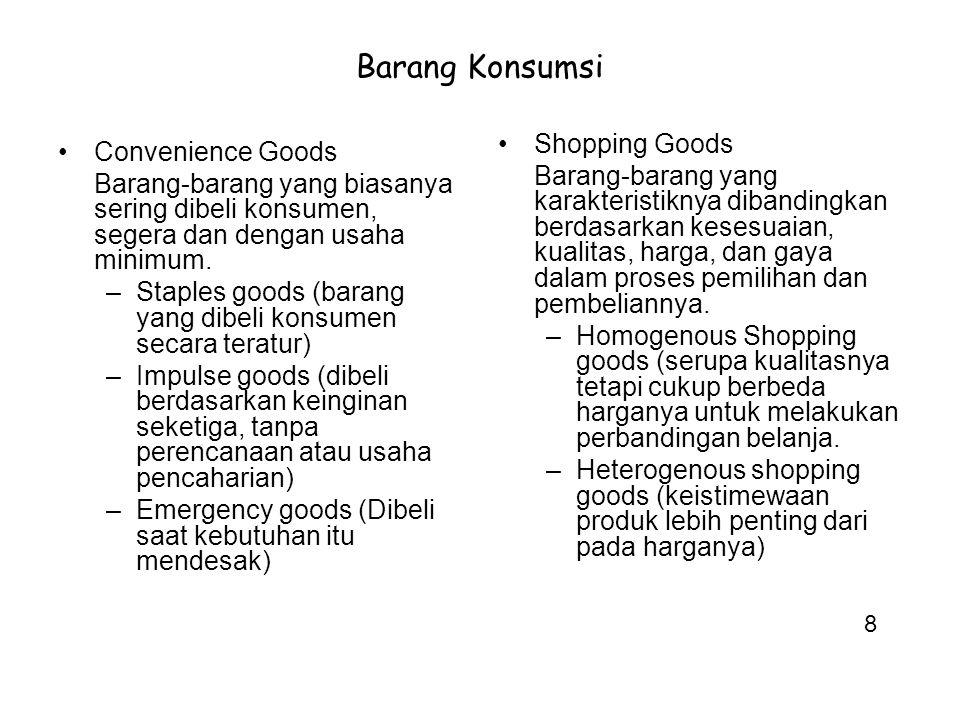 Barang Konsumsi Convenience Goods Barang-barang yang biasanya sering dibeli konsumen, segera dan dengan usaha minimum. –Staples goods (barang yang dib