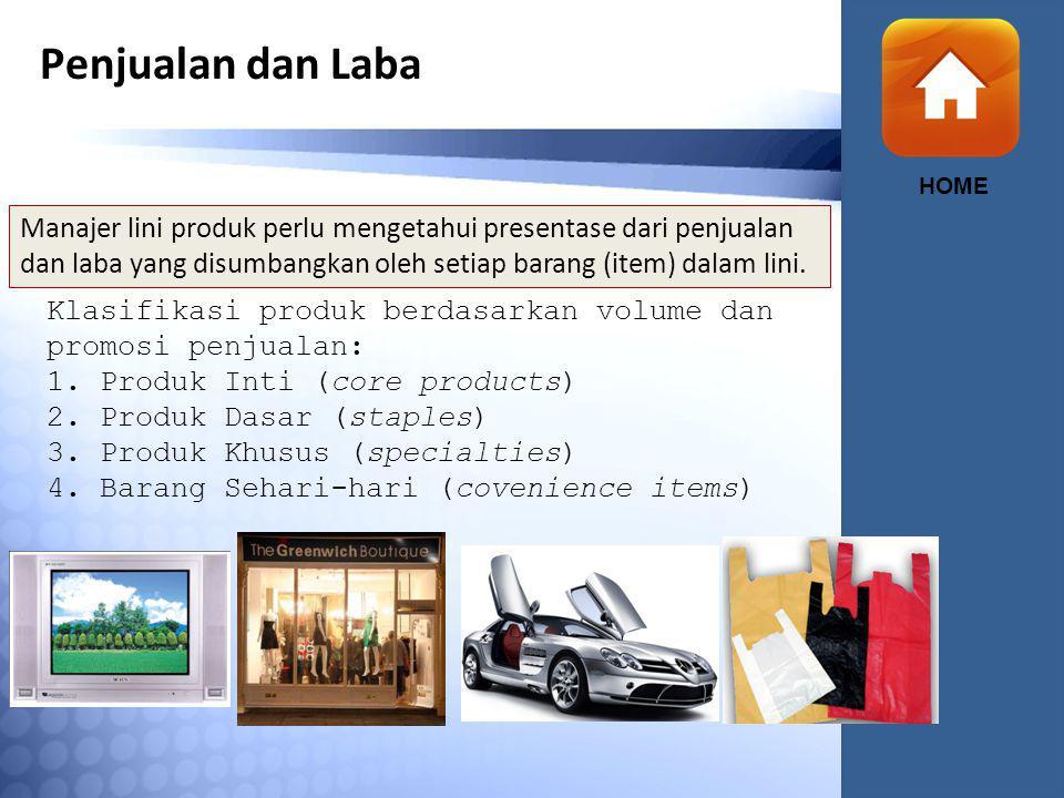 Penjualan dan Laba HOME Manajer lini produk perlu mengetahui presentase dari penjualan dan laba yang disumbangkan oleh setiap barang (item) dalam lini.