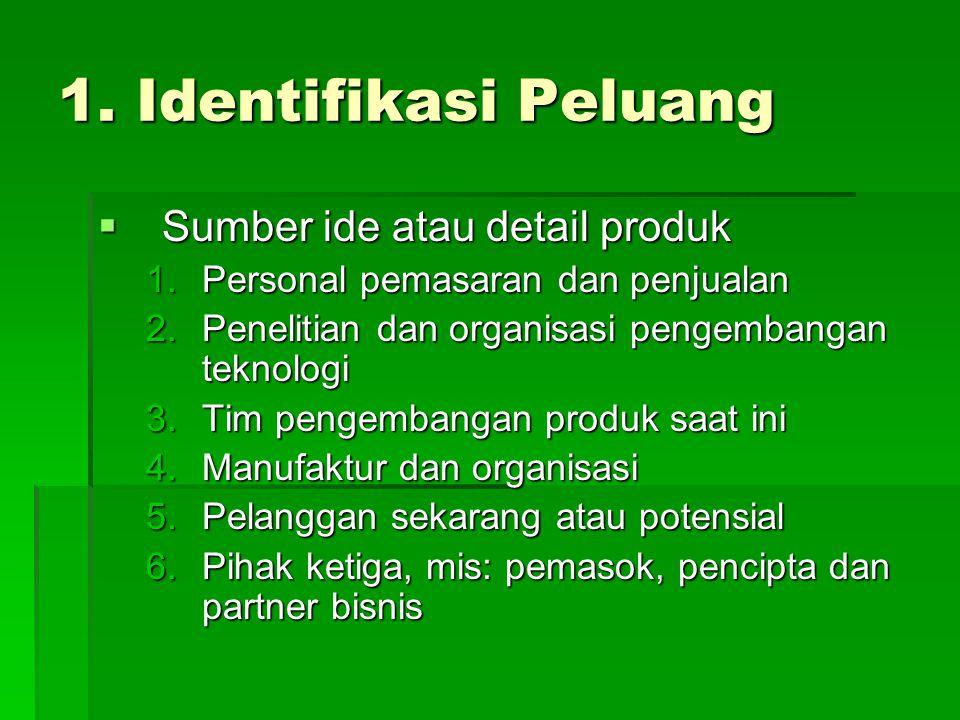 1. Identifikasi Peluang  Sumber ide atau detail produk 1.Personal pemasaran dan penjualan 2.Penelitian dan organisasi pengembangan teknologi 3.Tim pe