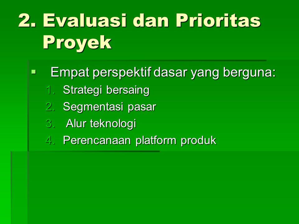 2. Evaluasi dan Prioritas Proyek  Empat perspektif dasar yang berguna: 1.Strategi bersaing 2.Segmentasi pasar 3. Alur teknologi 4.Perencanaan platfor