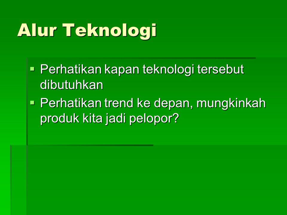Alur Teknologi  Perhatikan kapan teknologi tersebut dibutuhkan  Perhatikan trend ke depan, mungkinkah produk kita jadi pelopor?