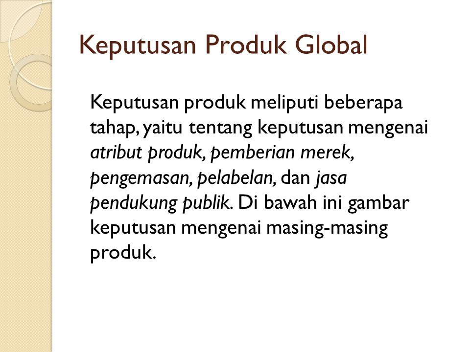 Keputusan Produk Global Keputusan produk meliputi beberapa tahap, yaitu tentang keputusan mengenai atribut produk, pemberian merek, pengemasan, pelabe