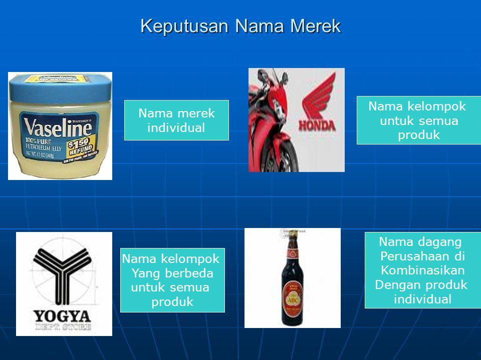 Keputusan Nama Merek Nama merek individual Nama dagang Perusahaan di Kombinasikan Dengan produk individual Nama kelompok Yang berbeda untuk semua prod