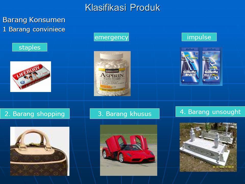 Klasifikasi Produk Barang Konsumen 1 Barang conviniece staples emergencyimpulse 2. Barang shopping3. Barang khusus 4. Barang unsought