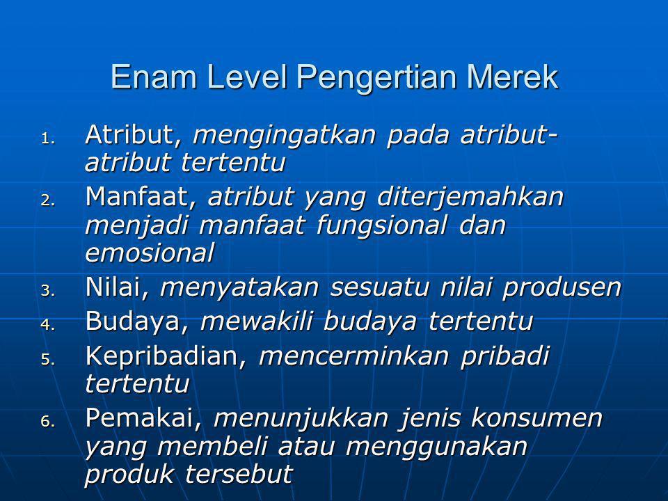 Enam Level Pengertian Merek 1. Atribut, mengingatkan pada atribut- atribut tertentu 2. Manfaat, atribut yang diterjemahkan menjadi manfaat fungsional