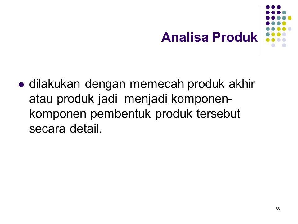 88 Analisa Produk dilakukan dengan memecah produk akhir atau produk jadi menjadi komponen- komponen pembentuk produk tersebut secara detail.