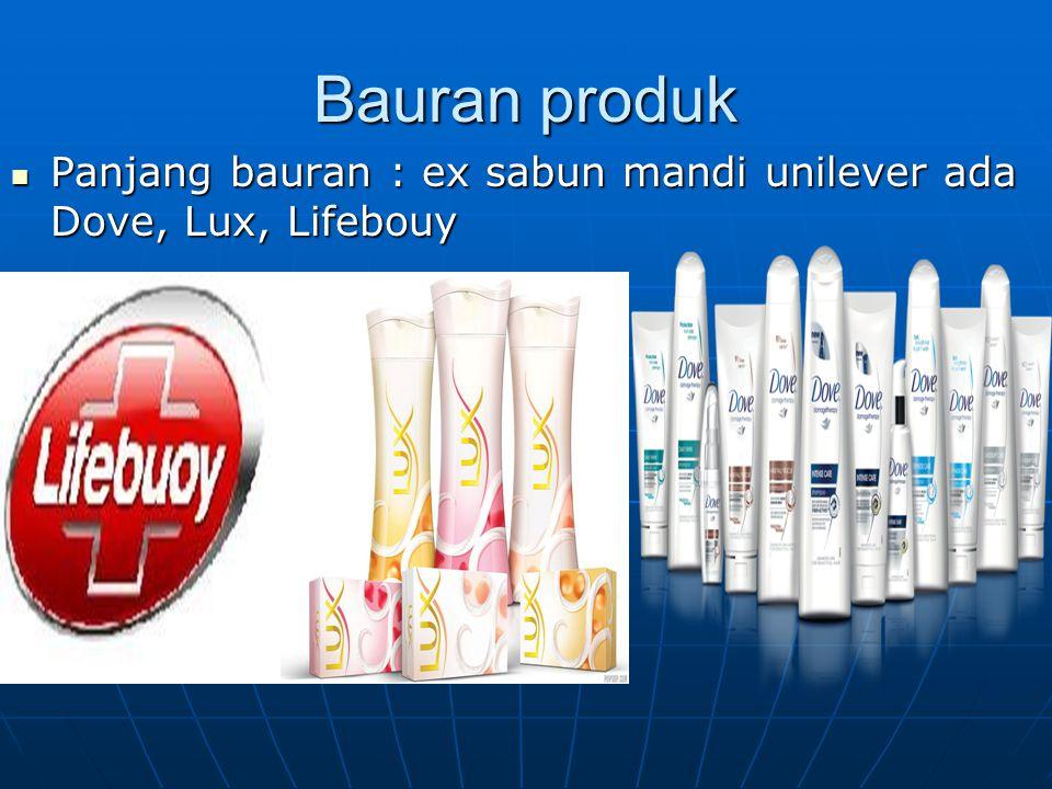 Bauran produk Panjang bauran : ex sabun mandi unilever ada Dove, Lux, Lifebouy Panjang bauran : ex sabun mandi unilever ada Dove, Lux, Lifebouy