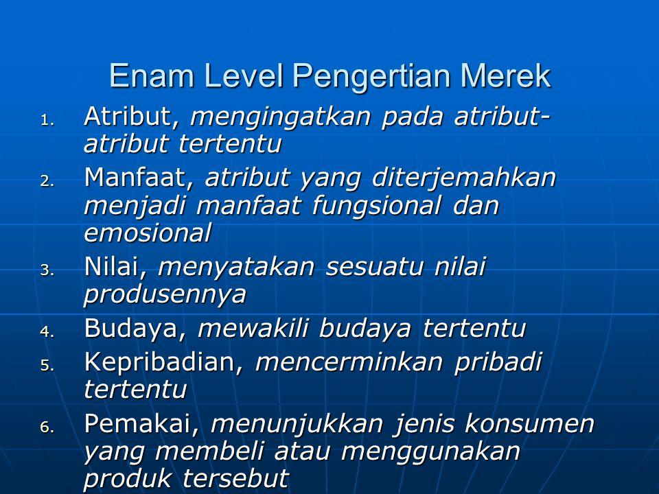 Enam Level Pengertian Merek 1.Atribut, mengingatkan pada atribut- atribut tertentu 2.