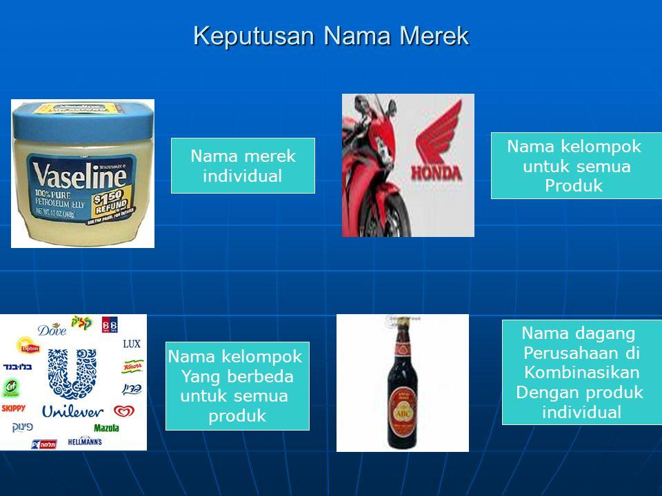 Keputusan Nama Merek Nama merek individual Nama dagang Perusahaan di Kombinasikan Dengan produk individual Nama kelompok Yang berbeda untuk semua produk Nama kelompok untuk semua Produk