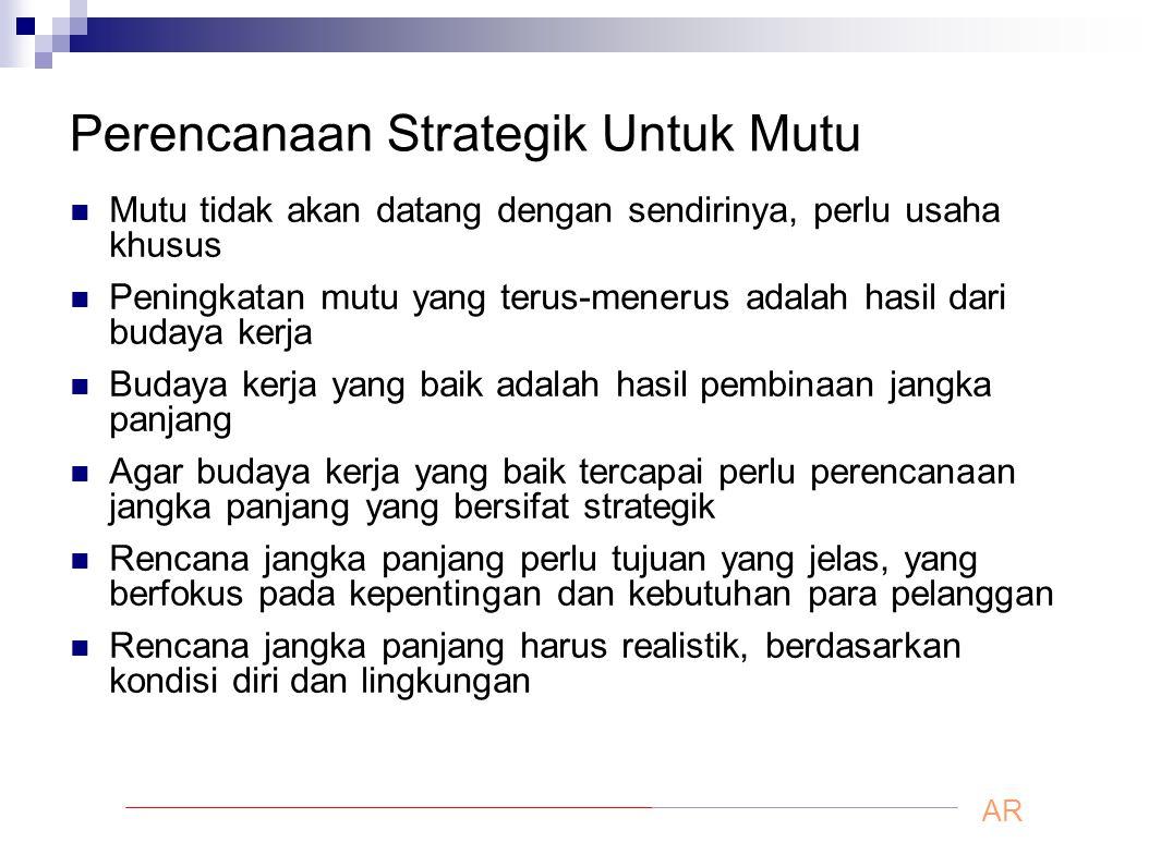 Perencanaan Strategik Untuk Mutu Mutu tidak akan datang dengan sendirinya, perlu usaha khusus Peningkatan mutu yang terus-menerus adalah hasil dari bu