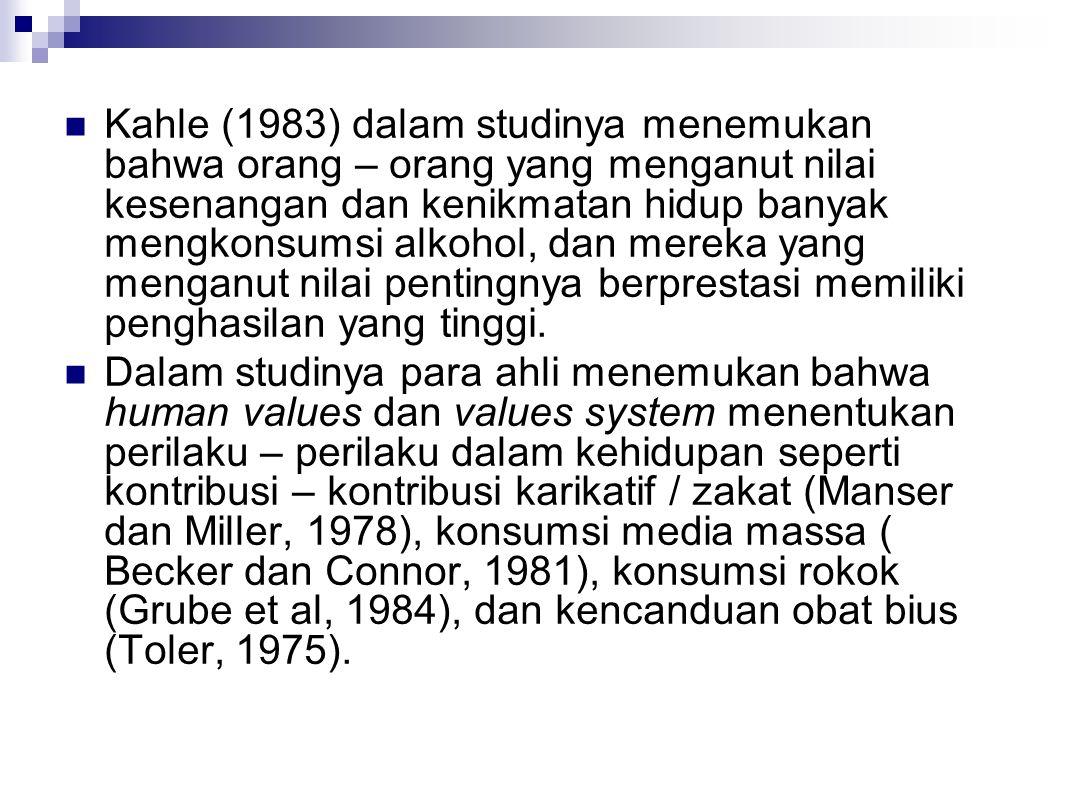 Kahle (1983) dalam studinya menemukan bahwa orang – orang yang menganut nilai kesenangan dan kenikmatan hidup banyak mengkonsumsi alkohol, dan mereka