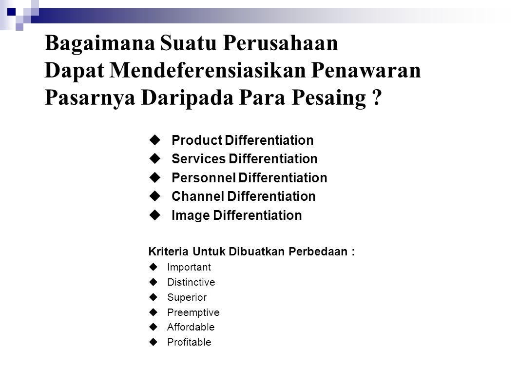 Bagaimana Suatu Perusahaan Dapat Mendeferensiasikan Penawaran Pasarnya Daripada Para Pesaing ?  Product Differentiation  Services Differentiation 