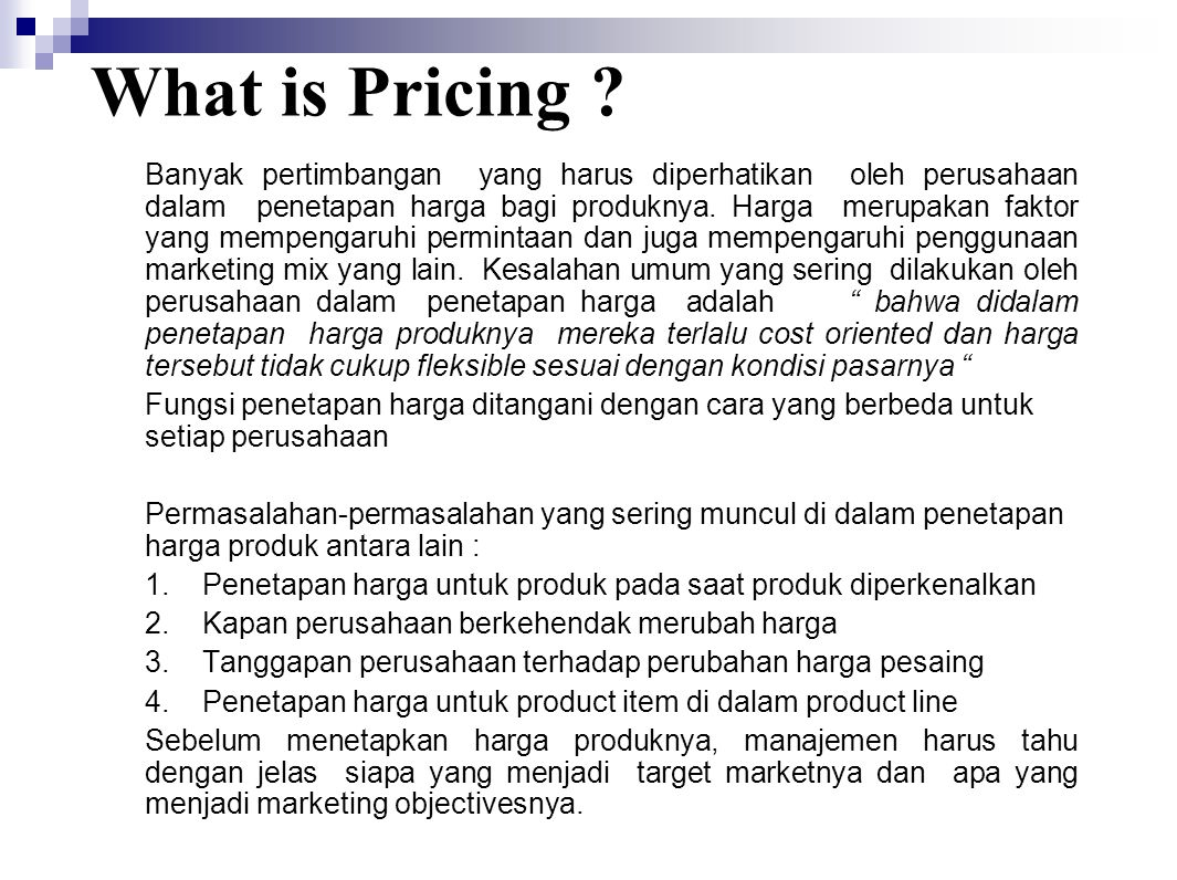 What is Pricing .
