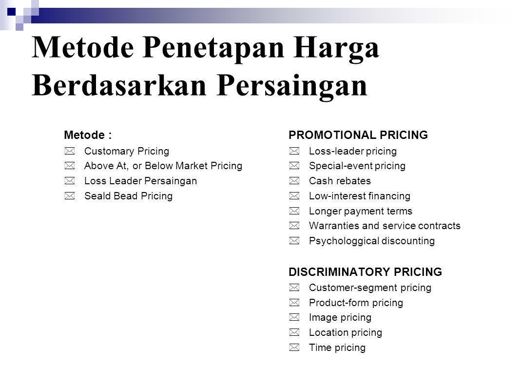 Metode Penetapan Harga Berdasarkan Persaingan Metode :  Customary Pricing  Above At, or Below Market Pricing  Loss Leader Persaingan  Seald Bead P