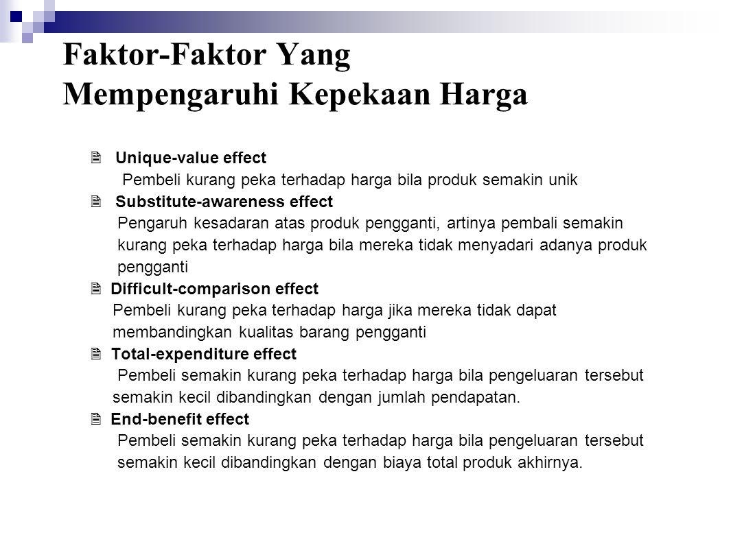 Faktor-Faktor Yang Mempengaruhi Kepekaan Harga  Unique-value effect Pembeli kurang peka terhadap harga bila produk semakin unik  Substitute-awarenes