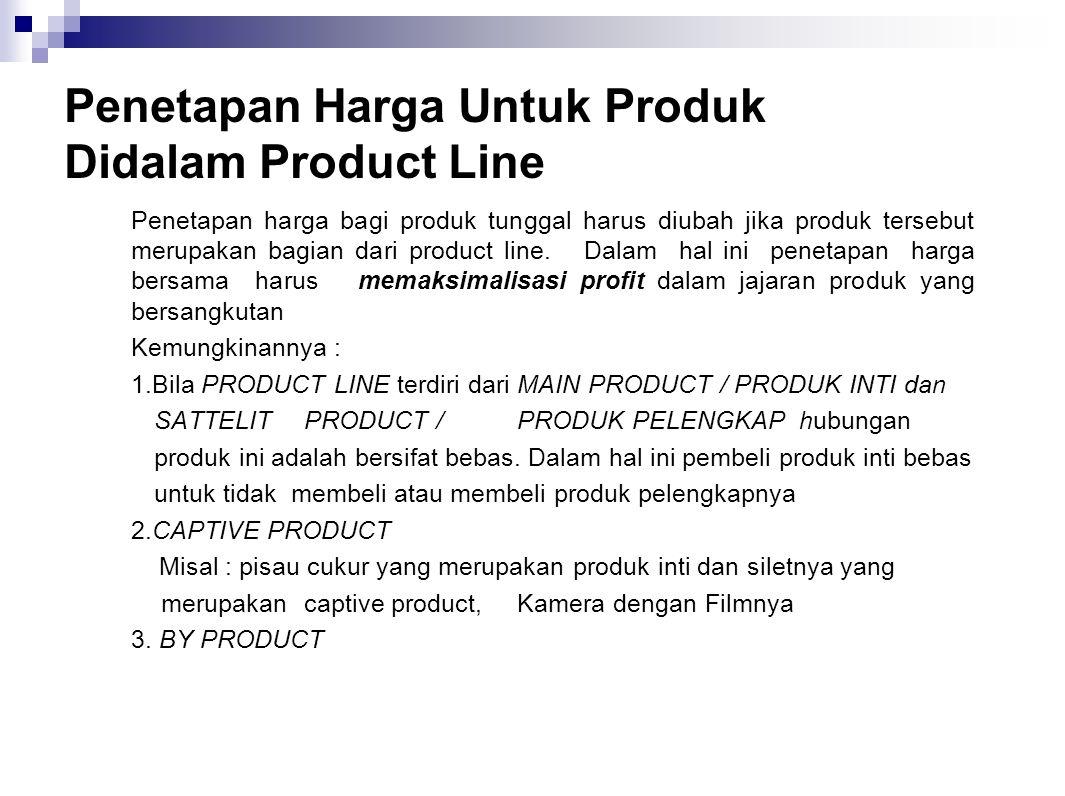 Penetapan Harga Untuk Produk Didalam Product Line Penetapan harga bagi produk tunggal harus diubah jika produk tersebut merupakan bagian dari product