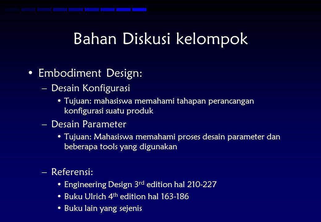 Bahan Diskusi kelompok Embodiment Design: –Desain Konfigurasi Tujuan: mahasiswa memahami tahapan perancangan konfigurasi suatu produk –Desain Paramete