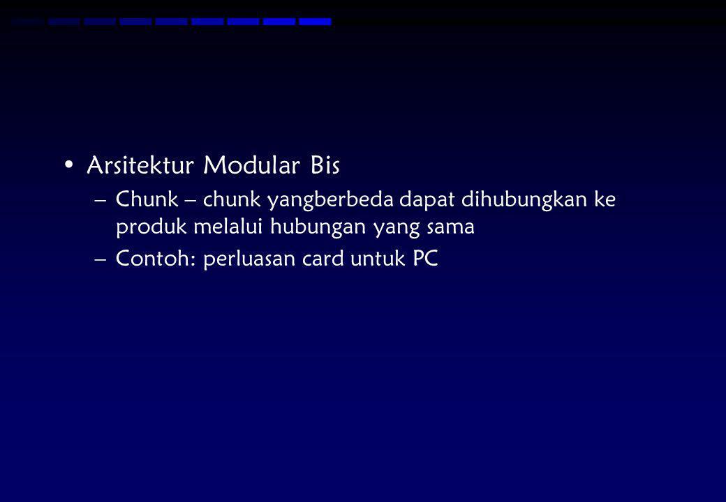 Arsitektur Modular Bis –Chunk – chunk yangberbeda dapat dihubungkan ke produk melalui hubungan yang sama –Contoh: perluasan card untuk PC