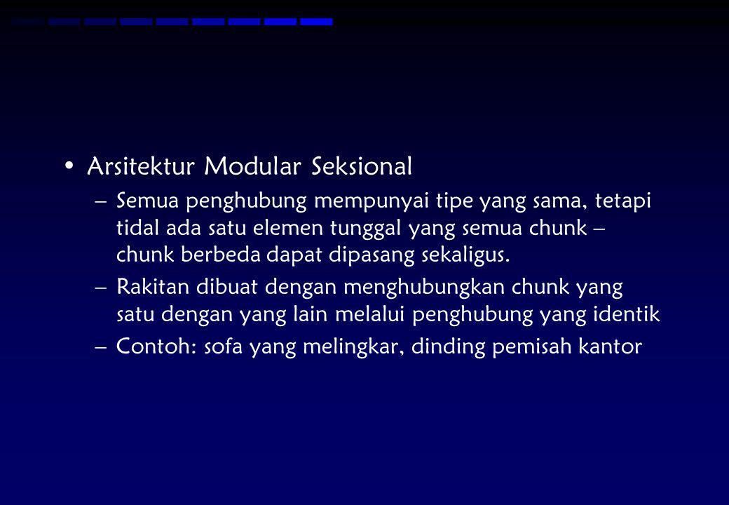 Arsitektur Modular Seksional –Semua penghubung mempunyai tipe yang sama, tetapi tidal ada satu elemen tunggal yang semua chunk – chunk berbeda dapat d
