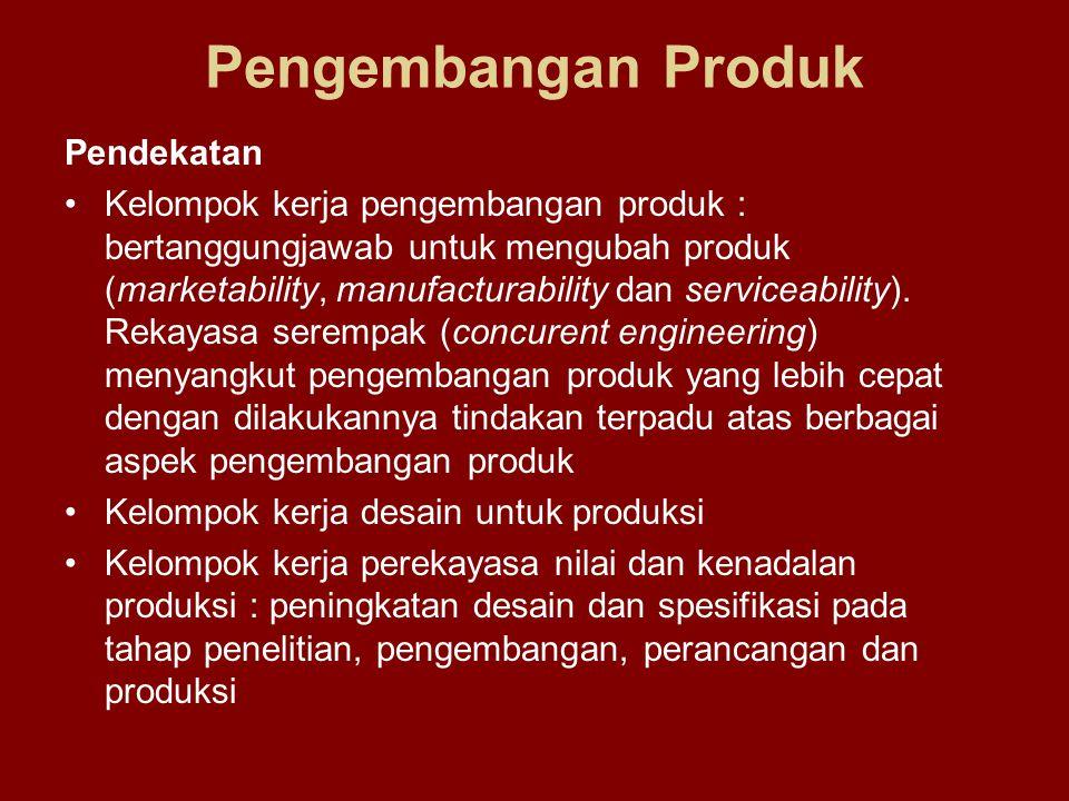 Pengembangan Produk Pendekatan Kelompok kerja pengembangan produk : bertanggungjawab untuk mengubah produk (marketability, manufacturability dan servi