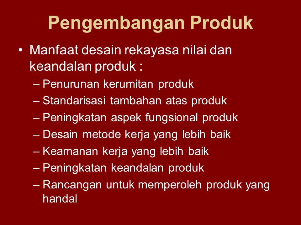 Pengembangan Produk Manfaat desain rekayasa nilai dan keandalan produk : –Penurunan kerumitan produk –Standarisasi tambahan atas produk –Peningkatan a
