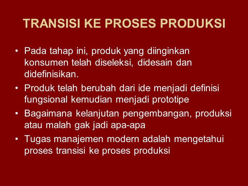 TRANSISI KE PROSES PRODUKSI Pada tahap ini, produk yang diinginkan konsumen telah diseleksi, didesain dan didefinisikan. Produk telah berubah dari ide