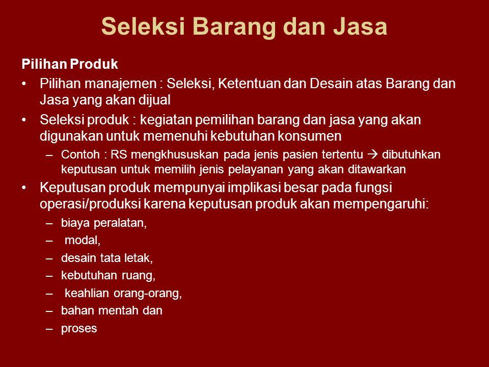 Seleksi Barang dan Jasa Pilihan Produk Pilihan manajemen : Seleksi, Ketentuan dan Desain atas Barang dan Jasa yang akan dijual Seleksi produk : kegiat
