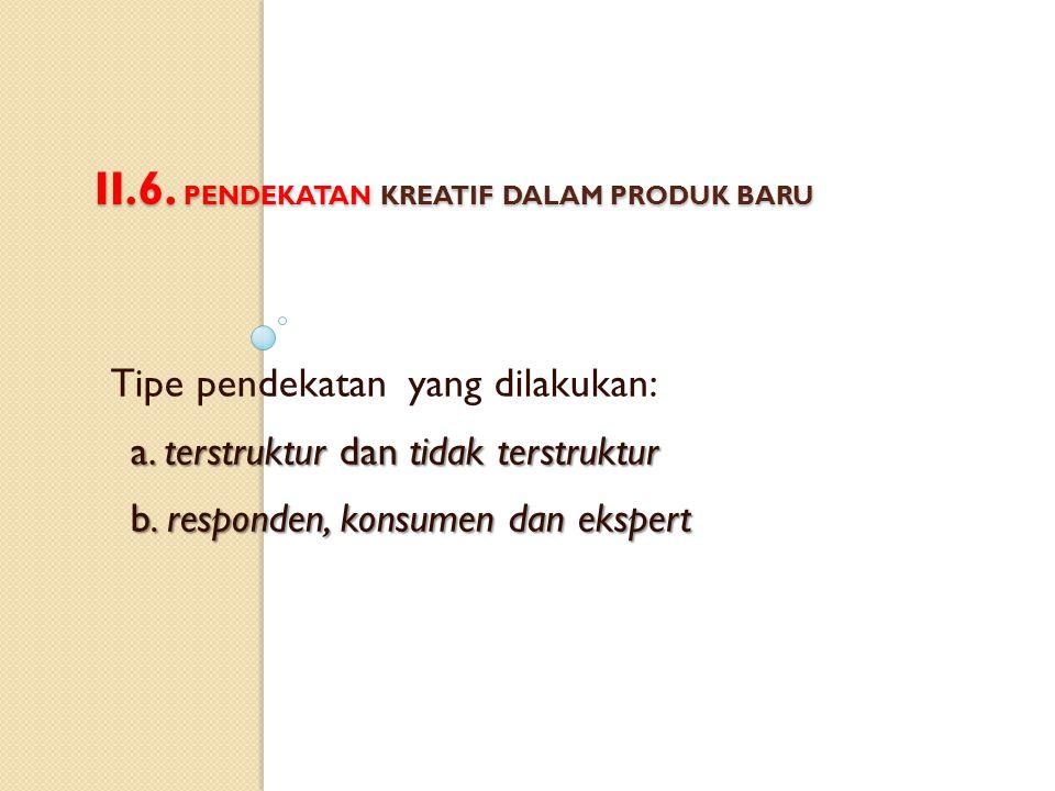 II.6.PENDEKATAN KREATIF DALAM PRODUK BARU Tipe pendekatan yang dilakukan: a.