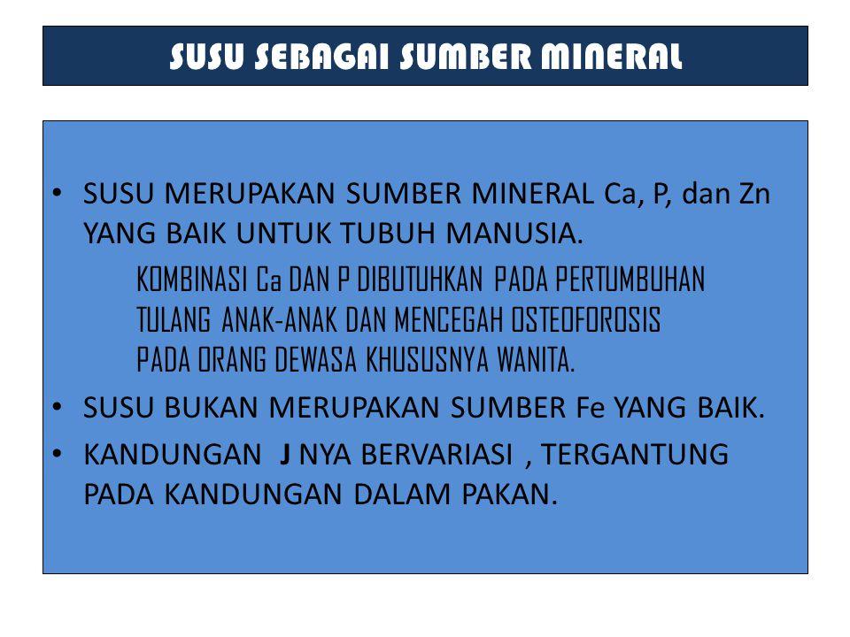 SUSU SEBAGAI SUMBER MINERAL SUSU MERUPAKAN SUMBER MINERAL Ca, P, dan Zn YANG BAIK UNTUK TUBUH MANUSIA. KOMBINASI Ca DAN P DIBUTUHKAN PADA PERTUMBUHAN