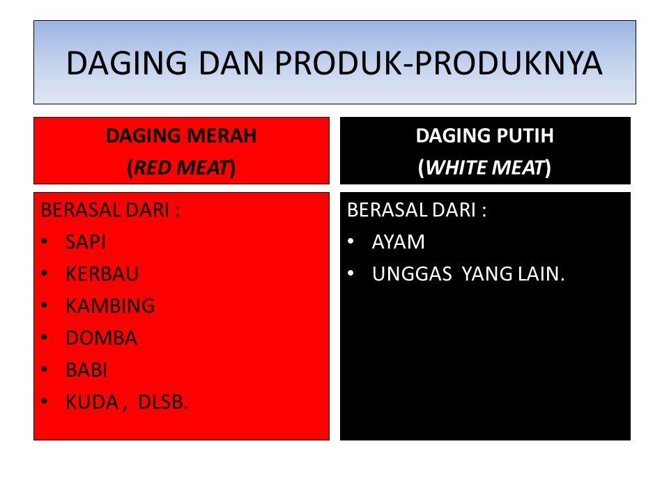 DAGING DAN PRODUK-PRODUKNYA DAGING MERAH (RED MEAT) BERASAL DARI : SAPI KERBAU KAMBING DOMBA BABI KUDA, DLSB. DAGING PUTIH (WHITE MEAT) BERASAL DARI :