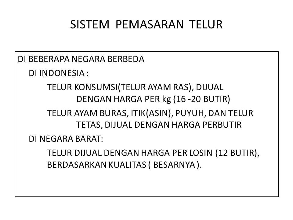 SISTEM PEMASARAN TELUR DI BEBERAPA NEGARA BERBEDA DI INDONESIA : TELUR KONSUMSI(TELUR AYAM RAS), DIJUAL DENGAN HARGA PER kg (16 -20 BUTIR) TELUR AYAM