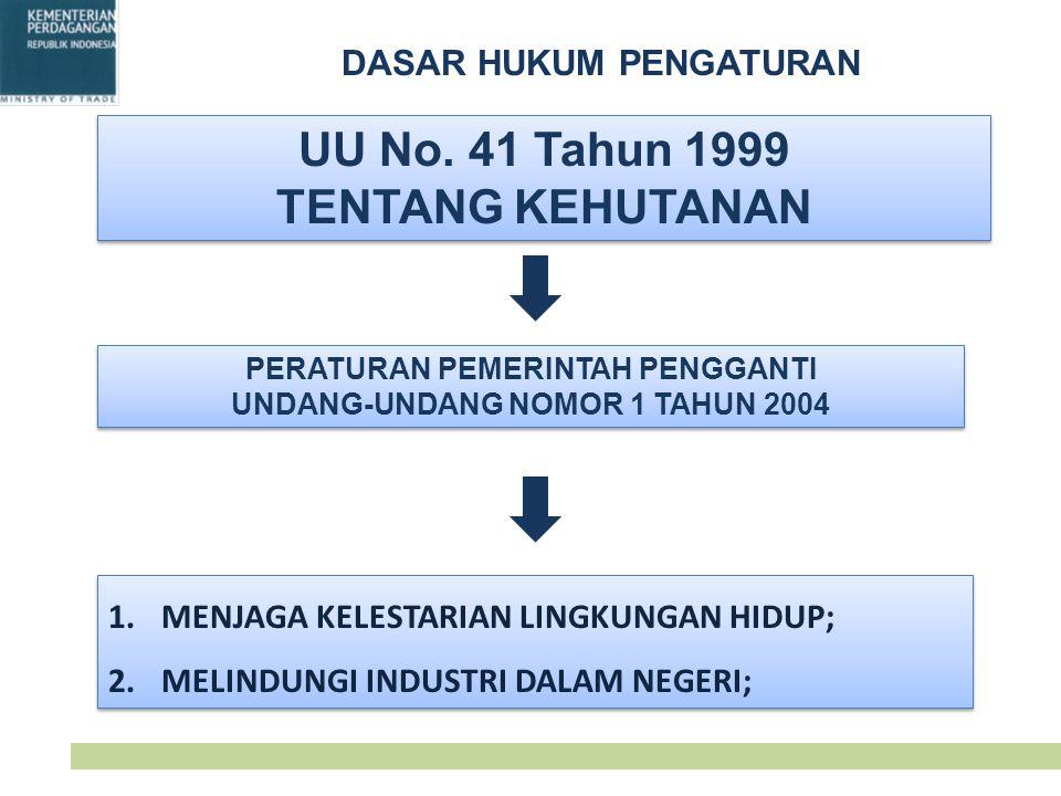 UU No. 41 Tahun 1999 TENTANG KEHUTANAN UU No. 41 Tahun 1999 TENTANG KEHUTANAN PERATURAN PEMERINTAH PENGGANTI UNDANG-UNDANG NOMOR 1 TAHUN 2004 PERATURA