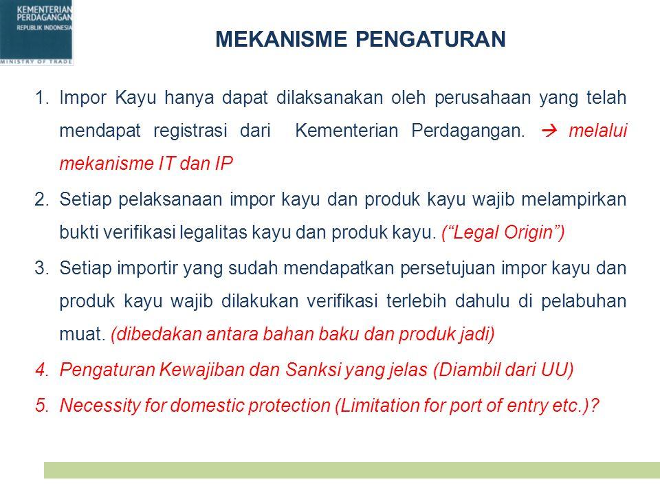 MEKANISME PENGATURAN 1.Impor Kayu hanya dapat dilaksanakan oleh perusahaan yang telah mendapat registrasi dari Kementerian Perdagangan.  melalui meka