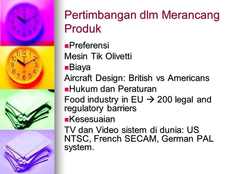 Pertimbangan dlm Merancang Produk Preferensi Preferensi Mesin Tik Olivetti Biaya Biaya Aircraft Design: British vs Americans Hukum dan Peraturan Hukum