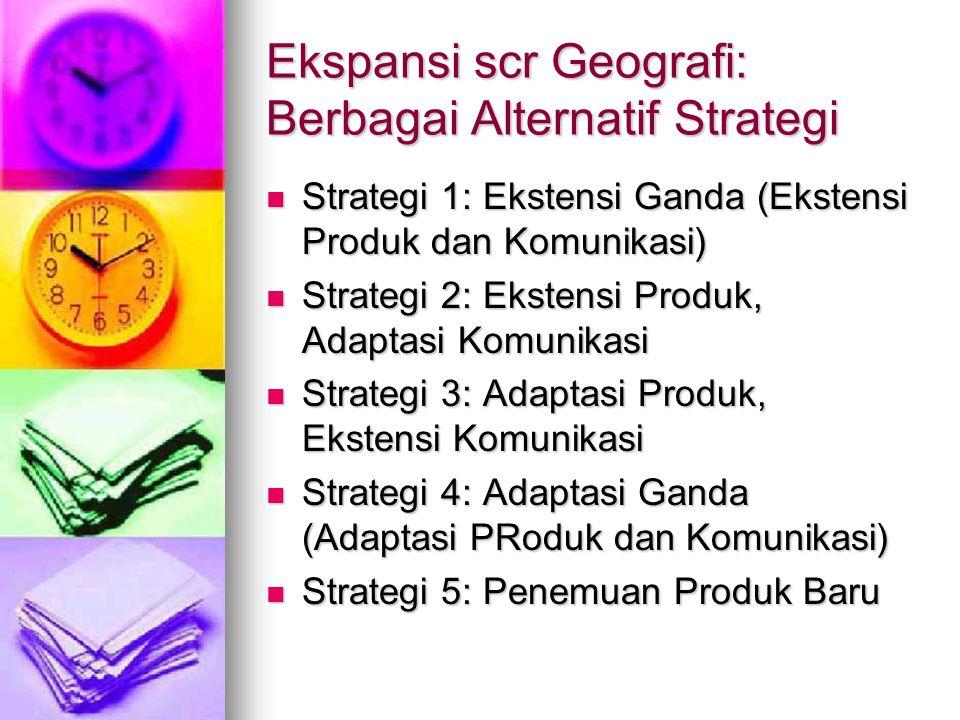 Ekspansi scr Geografi: Berbagai Alternatif Strategi Strategi 1: Ekstensi Ganda (Ekstensi Produk dan Komunikasi) Strategi 1: Ekstensi Ganda (Ekstensi P