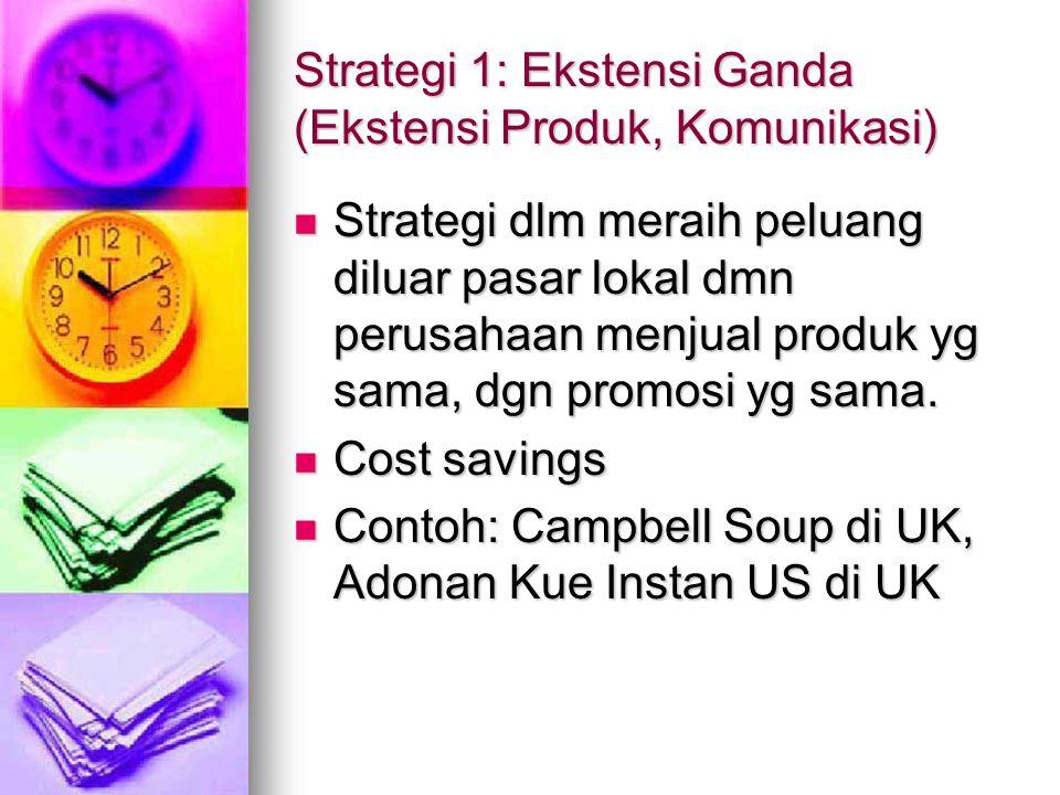 Strategi 1: Ekstensi Ganda (Ekstensi Produk, Komunikasi) Strategi dlm meraih peluang diluar pasar lokal dmn perusahaan menjual produk yg sama, dgn pro