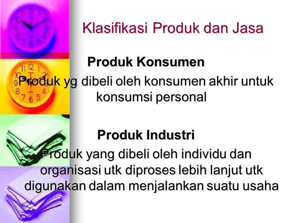 Klasifikasi Produk dan Jasa Produk Konsumen Produk yg dibeli oleh konsumen akhir untuk konsumsi personal Produk Industri Produk yang dibeli oleh indiv