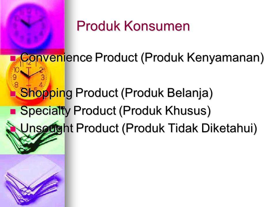 Produk Konsumen Convenience Product (Produk Kenyamanan) Convenience Product (Produk Kenyamanan) Shopping Product (Produk Belanja) Shopping Product (Pr