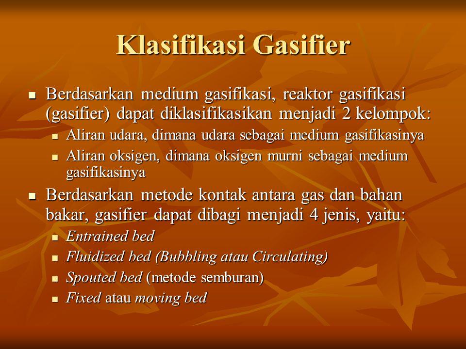 Klasifikasi Gasifier Berdasarkan medium gasifikasi, reaktor gasifikasi (gasifier) dapat diklasifikasikan menjadi 2 kelompok: Berdasarkan medium gasifi