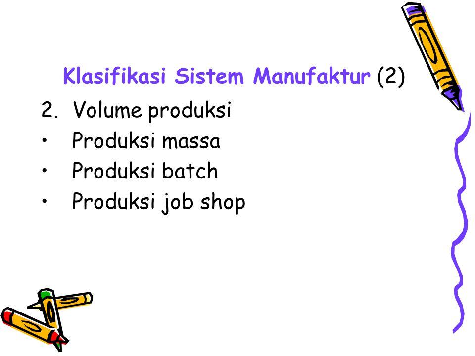 Klasifikasi Sistem Manufaktur (2) 2.Volume produksi Produksi massa Produksi batch Produksi job shop