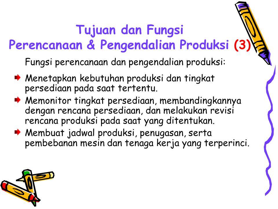 Tujuan dan Fungsi Perencanaan & Pengendalian Produksi (3) Fungsi perencanaan dan pengendalian produksi: Menetapkan kebutuhan produksi dan tingkat pers