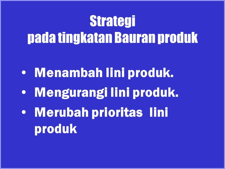 Strategi pada tingkatan Bauran produk Menambah lini produk. Mengurangi lini produk. Merubah prioritas lini produk