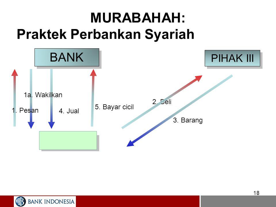 MURABAHAH: Praktek Perbankan Syariah 17 BANK NASABAH PIHAK III 1. pesan 2. beli Kirim barang 4. bayar 3. jual