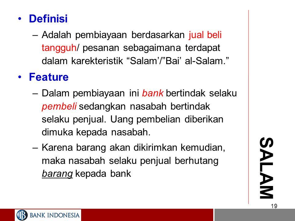 MURABAHAH: Praktek Perbankan Syariah 18 2. Beli 3. Barang 1a. Wakilkan 5. Bayar cicil 4. Jual NASABAH BANK PIHAK III 1. Pesan