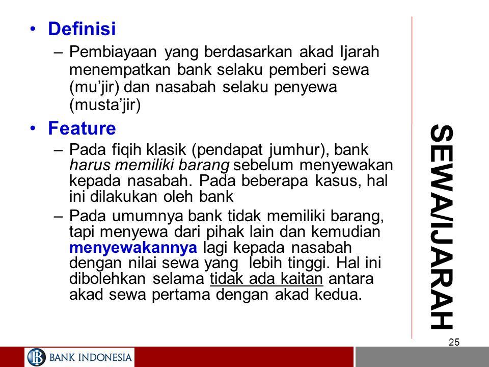 SALAM/ISTISNA: Praktek Perbankan 24 BANK NASABAH PIHAK III 1. pesan, bayar 3. Jual dngn harga lbh tinggi 2. Hantar barang Stlh jangka waktu