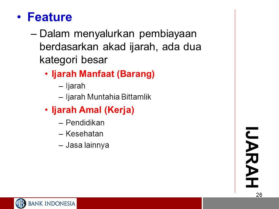 SEWA/IJARAH Definisi –Pembiayaan yang berdasarkan akad Ijarah menempatkan bank selaku pemberi sewa (mu'jir) dan nasabah selaku penyewa (musta'jir) Fea