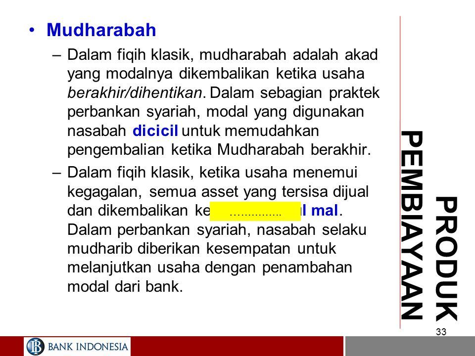 MUDHARABAH –Nisbah bagi hasil disepakati di muka, termasuk apabila terjadi kerugian. –Dalam fiqih, mudharib tidak boleh dikenakan jaminan, tapi boleh