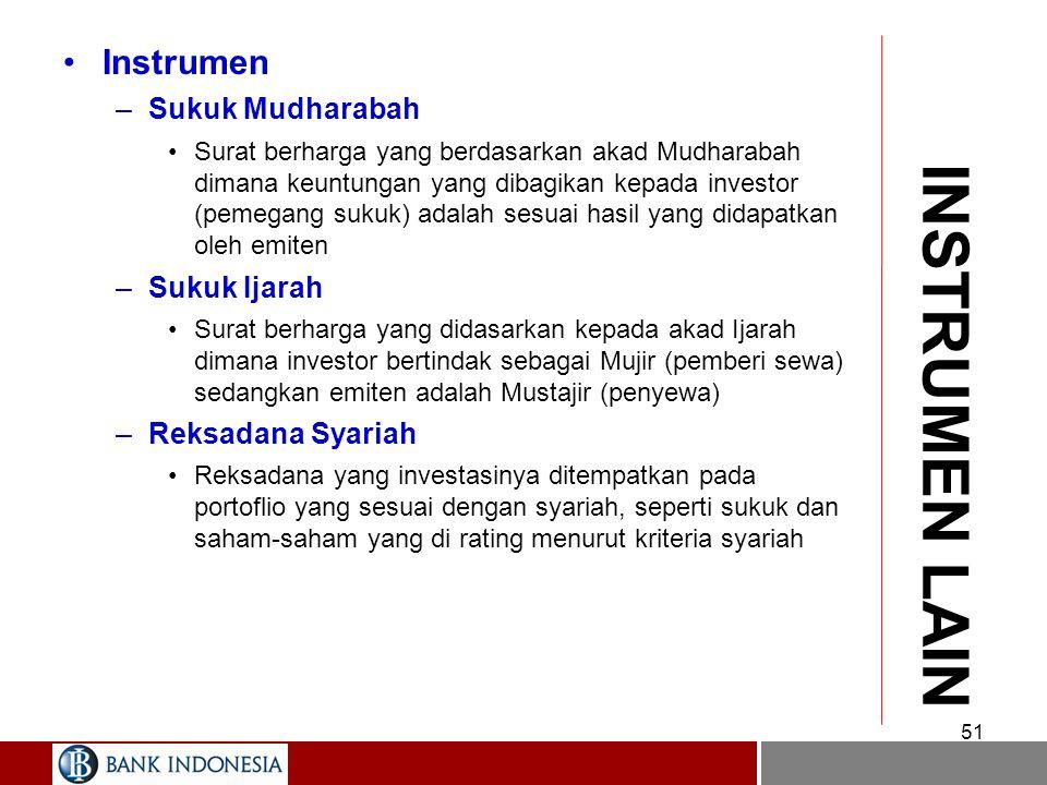 50 INTERBANK Sertifikat Mudharabah Antar Bank –Instrumen pasar uang antar bank yang hanya dapat dijual satu kali kepada bank lain dengan bagi hasil sesuai kesepakatan Serifikat Bank Indonesia (SBI) Syariah –Instrumen Bank Indonesia untuk menyerap kelebihan likuiditas dalam perbankan didasarkan atas akad Ju'alah.