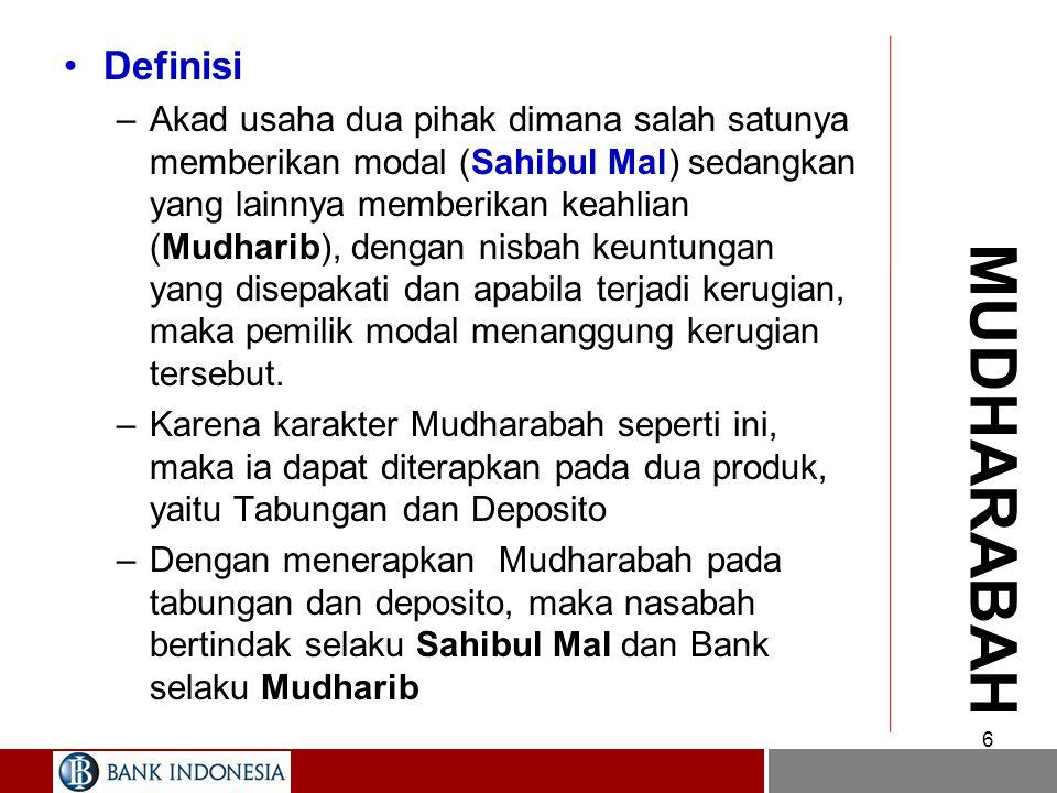 6 MUDHARABAH Definisi –Akad usaha dua pihak dimana salah satunya memberikan modal (Sahibul Mal) sedangkan yang lainnya memberikan keahlian (Mudharib), dengan nisbah keuntungan yang disepakati dan apabila terjadi kerugian, maka pemilik modal menanggung kerugian tersebut.